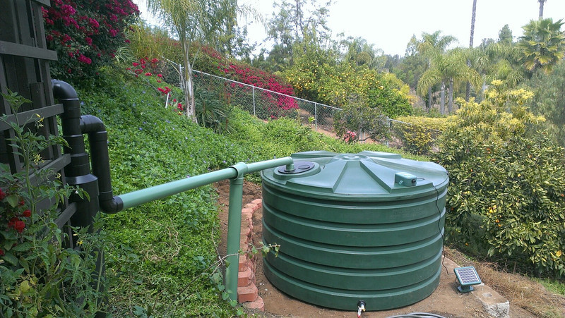 1,100 gallon Bushman above ground raintank installed in 2013